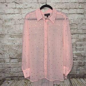 Lane Bryant Pink Polka Dot Button Up SZ 18/20